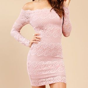Off-The-Shoulder Pink Lace Bodycon Dress